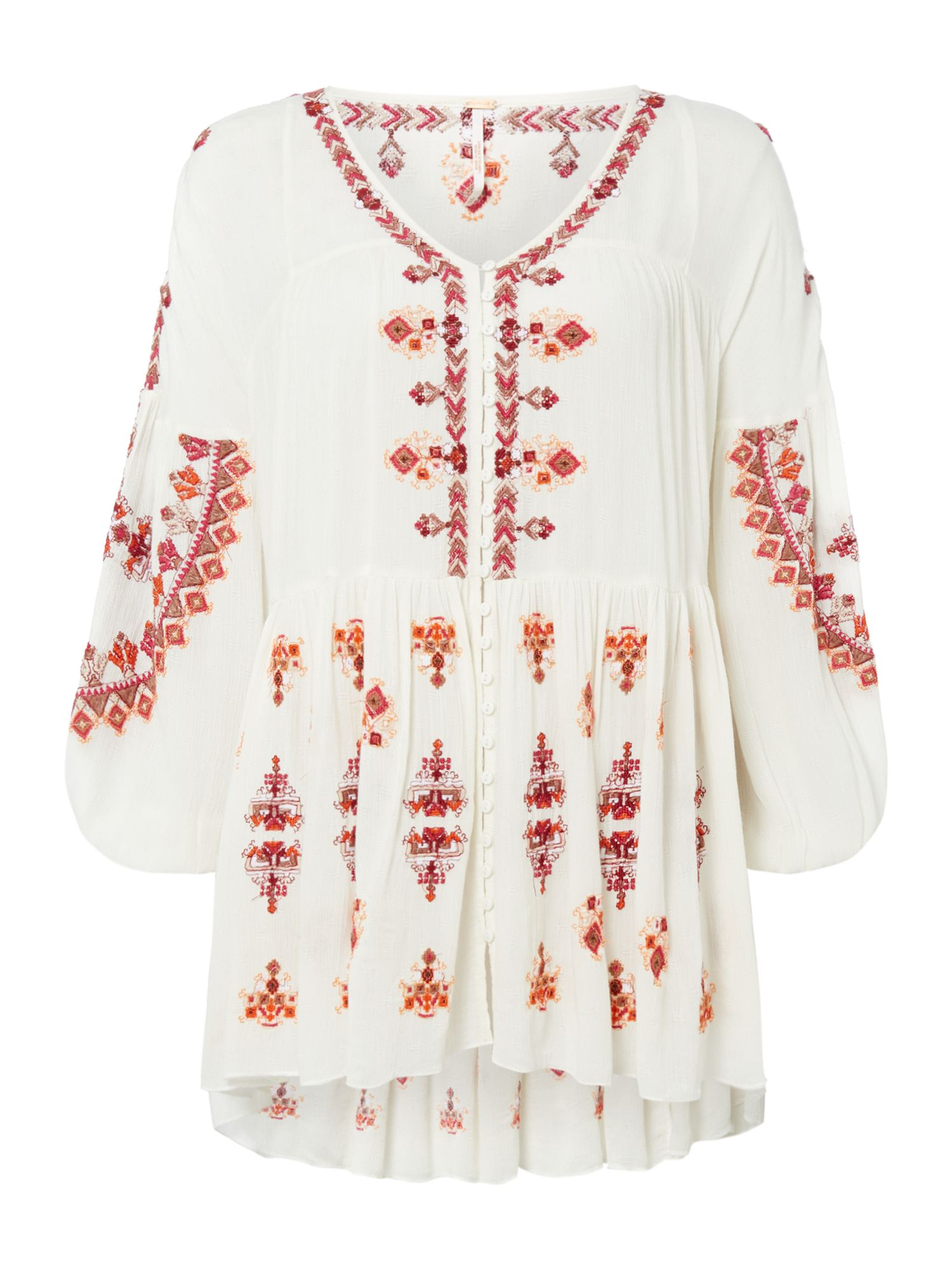 Free People Long Sleeve Embroidered Arianna Tunic, White