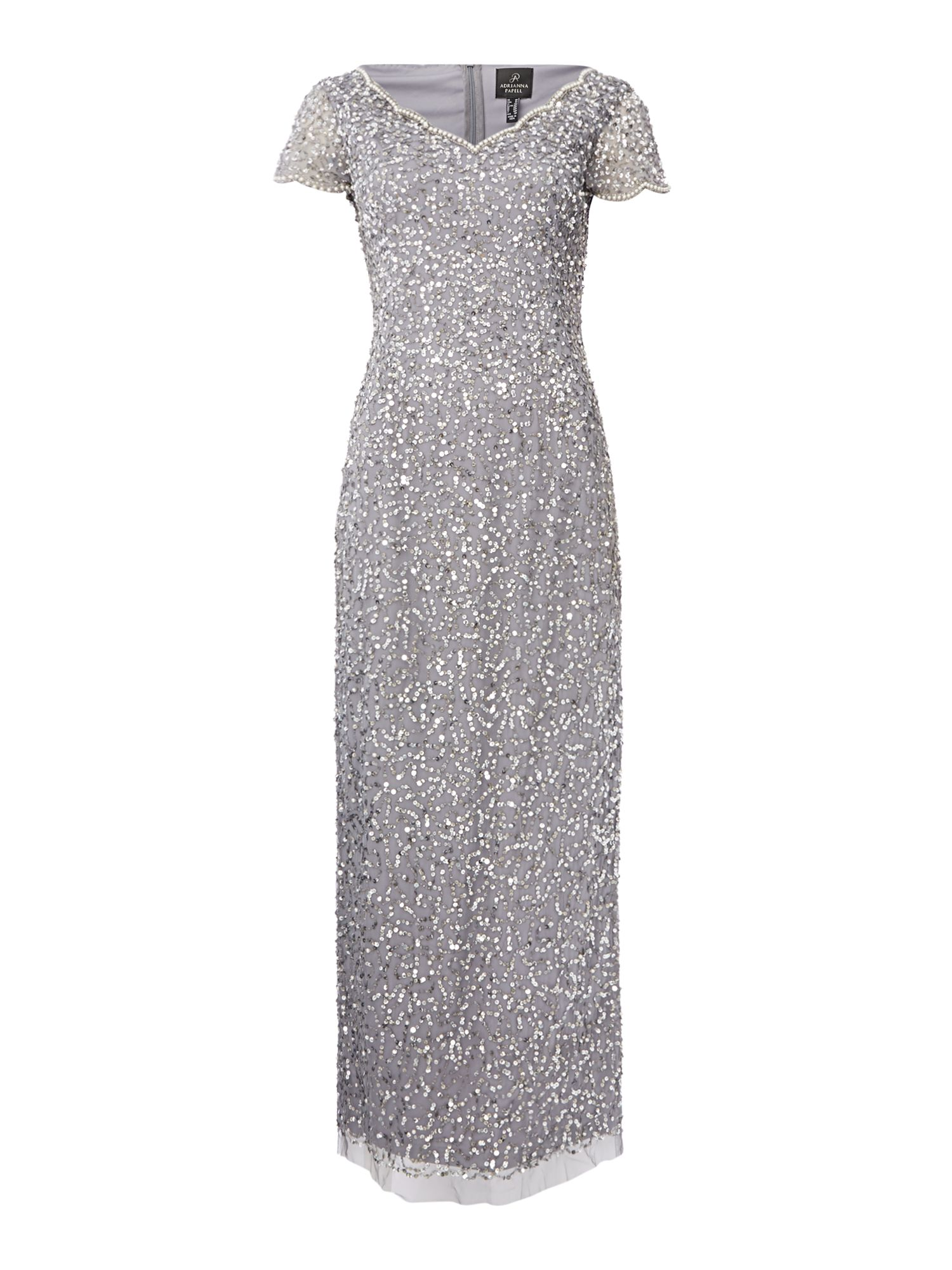 Adrianna Papell Petite embellished V neck short sleeve maxi dress, Silver