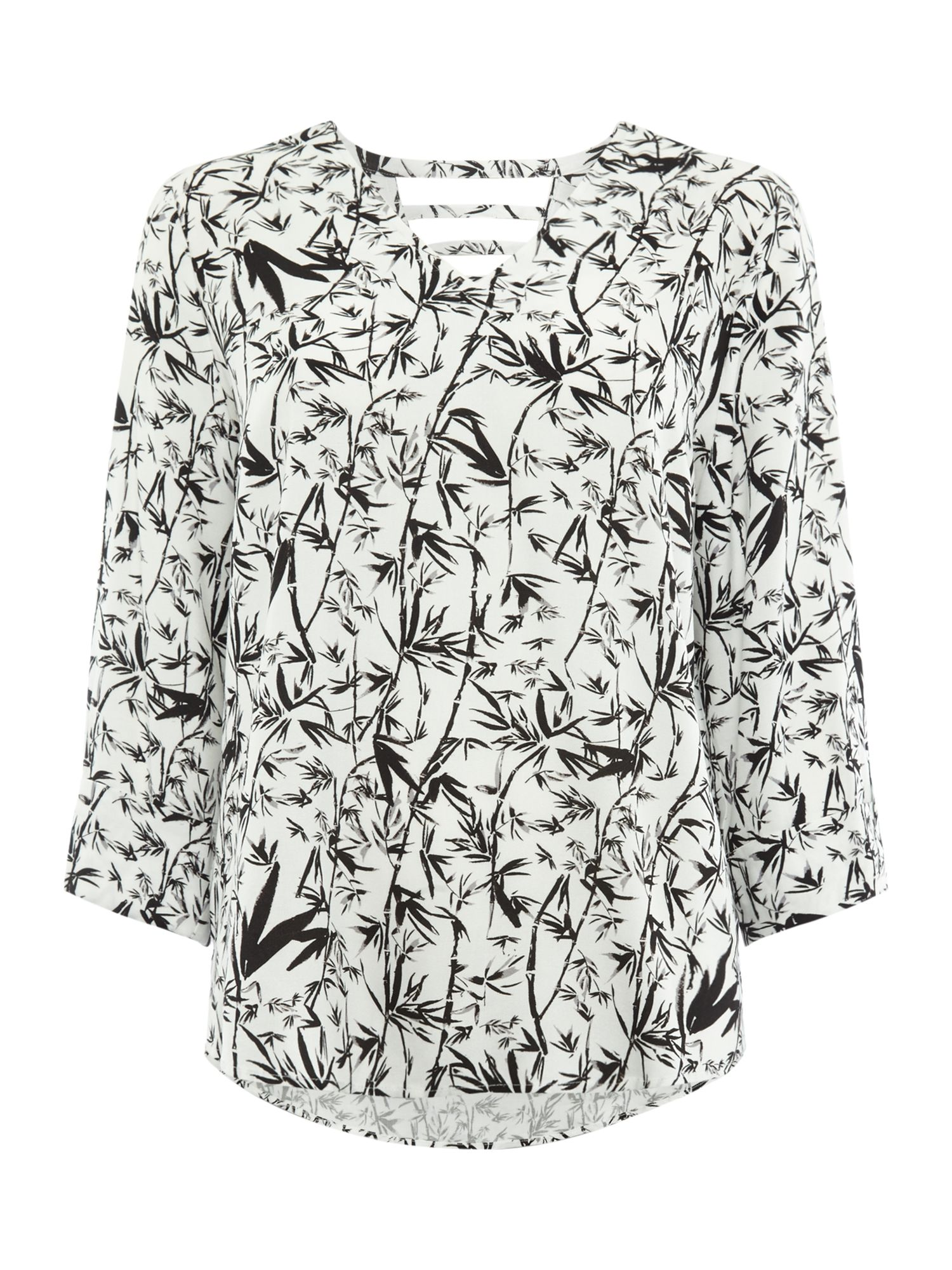 Label Lab Bamboo print sally ladder back woven top, Black/White