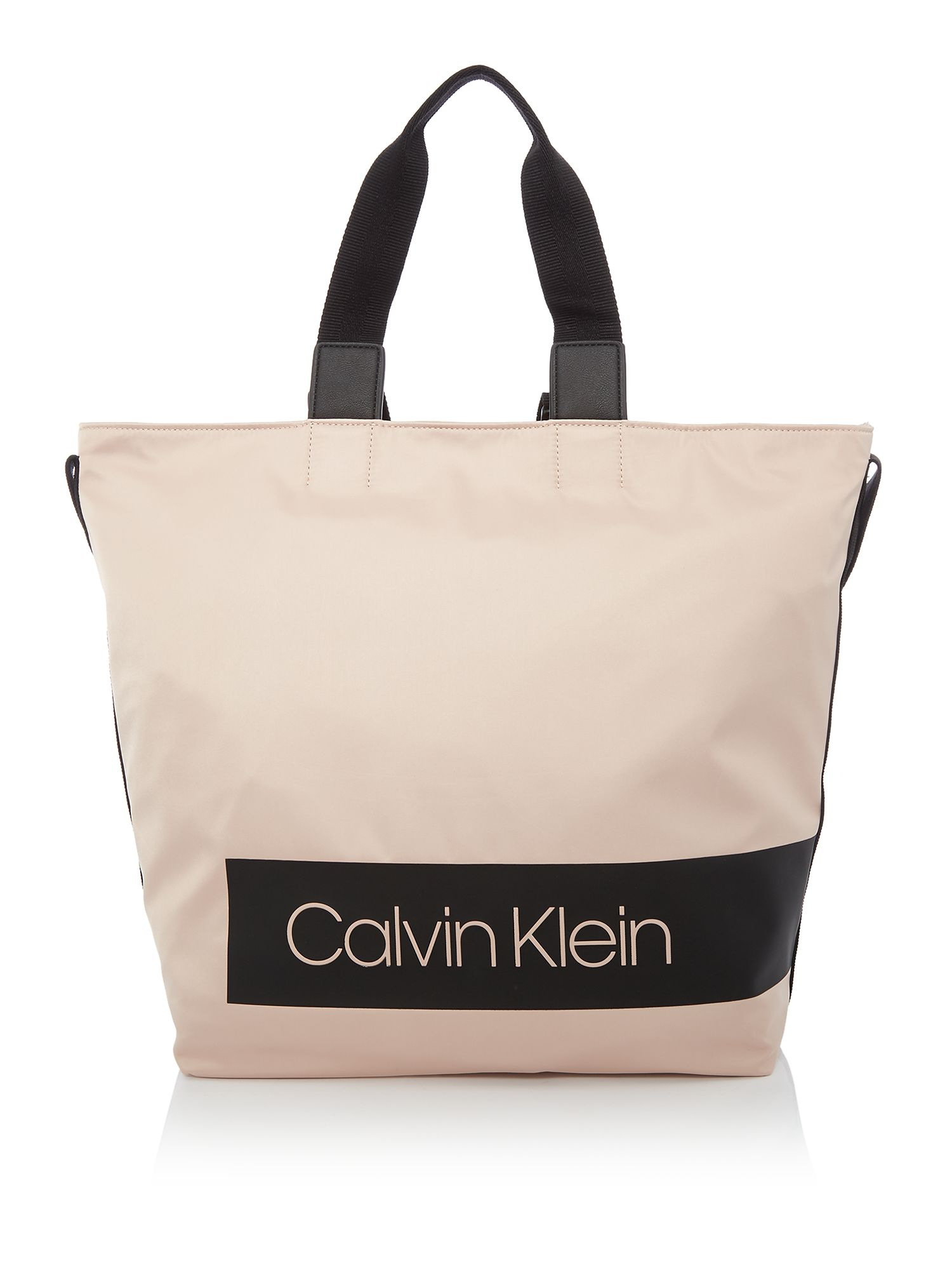 Calvin Klein Block out large shopper tote bag, Nude