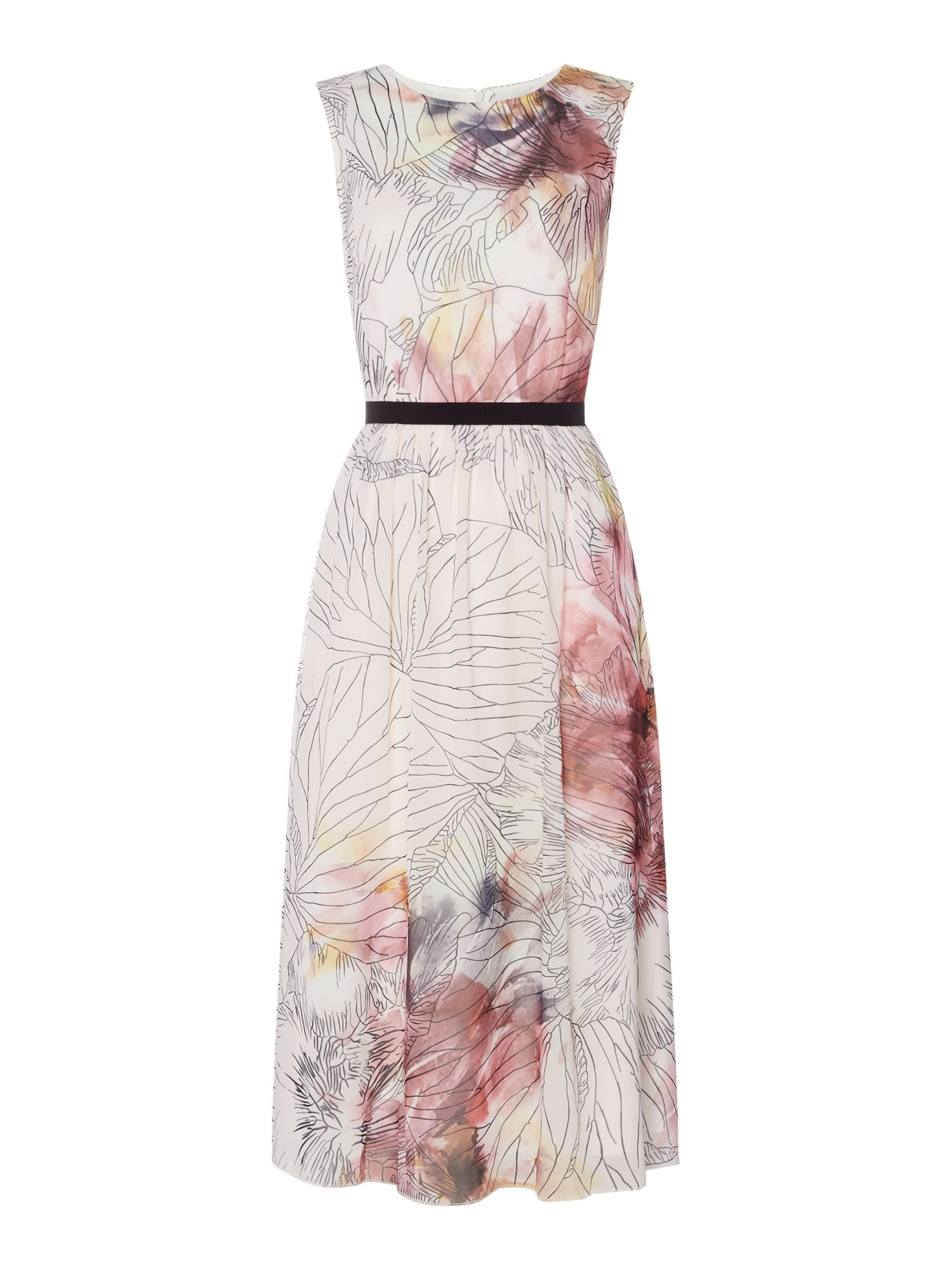 Little Mistress Round neck printed fit and flare midi dress, Multi-Coloured