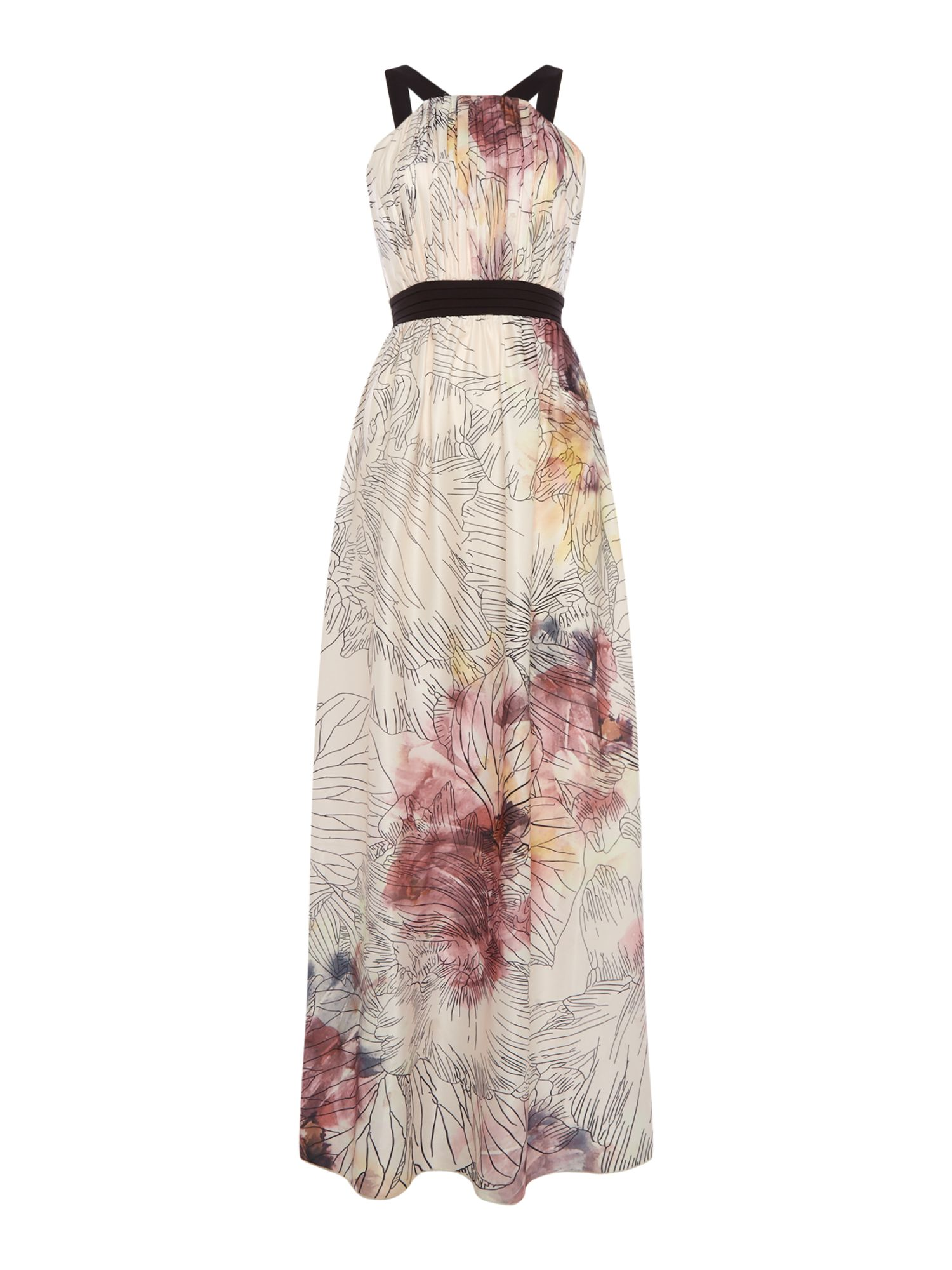 Little Mistress Strappy high necked printed maxi dress, Multi-Coloured