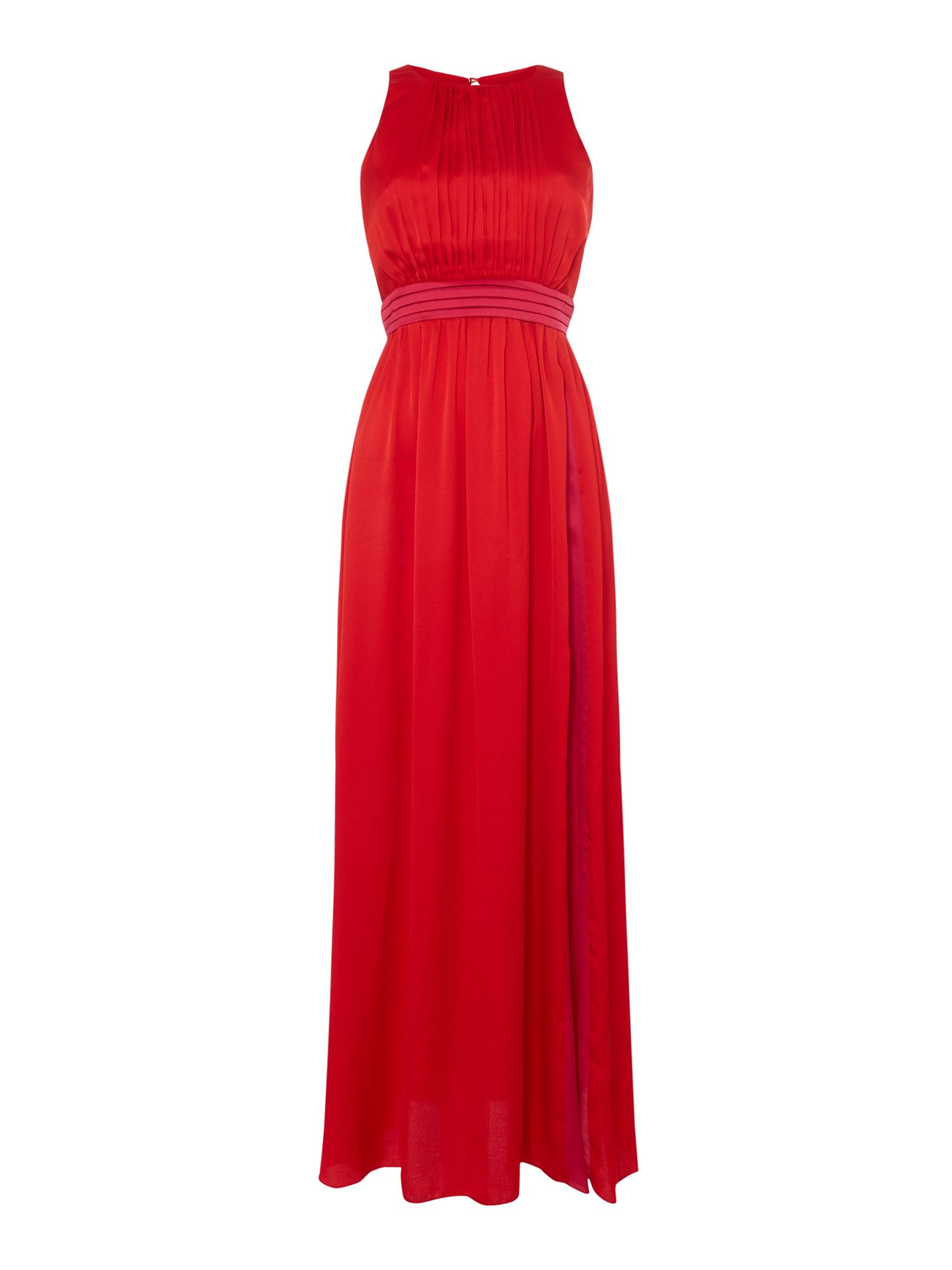 Little Mistress Pleated high neck maxi, Red