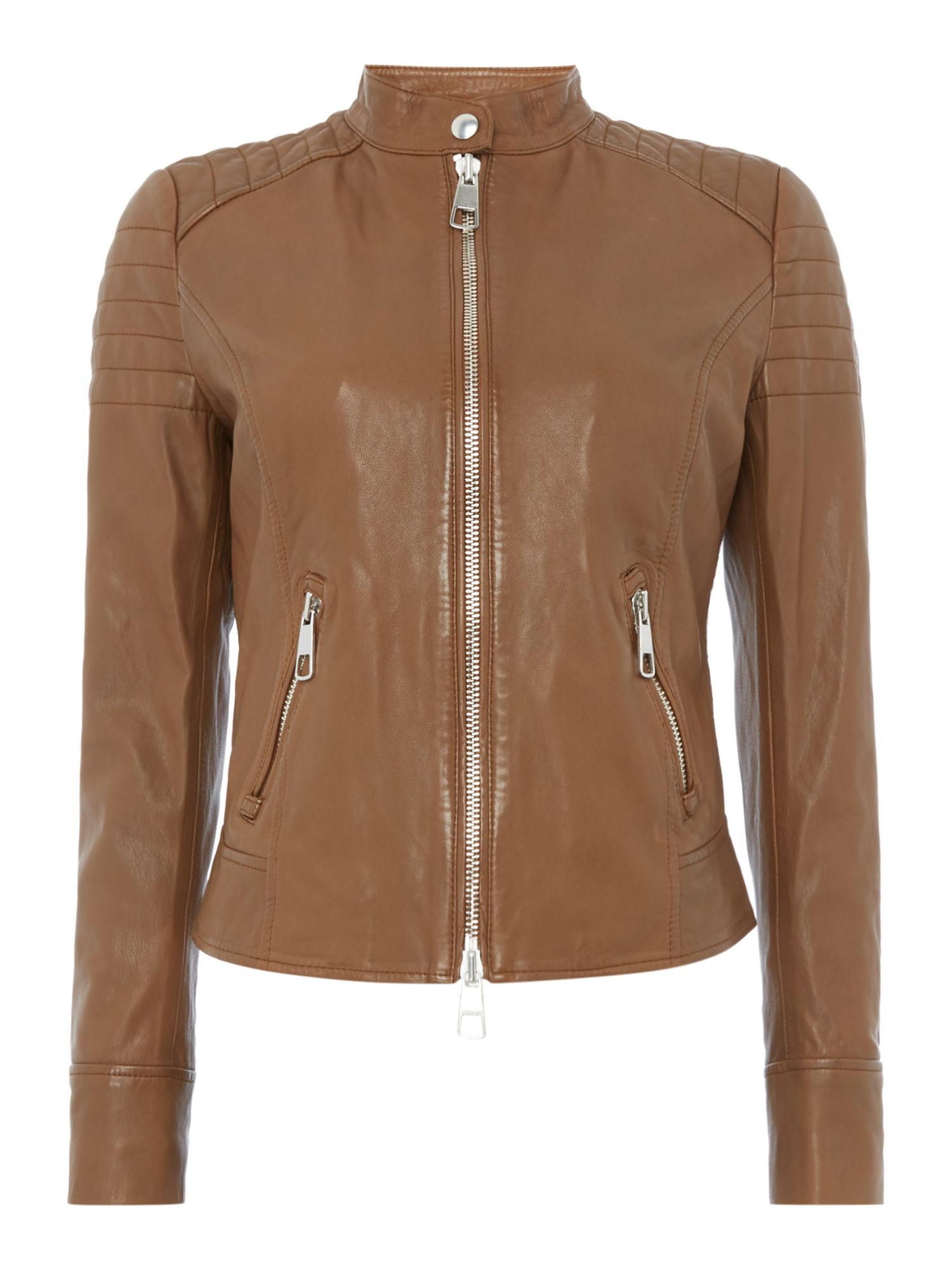 Hugo Boss Leather jacket with zipper pockets, Tan