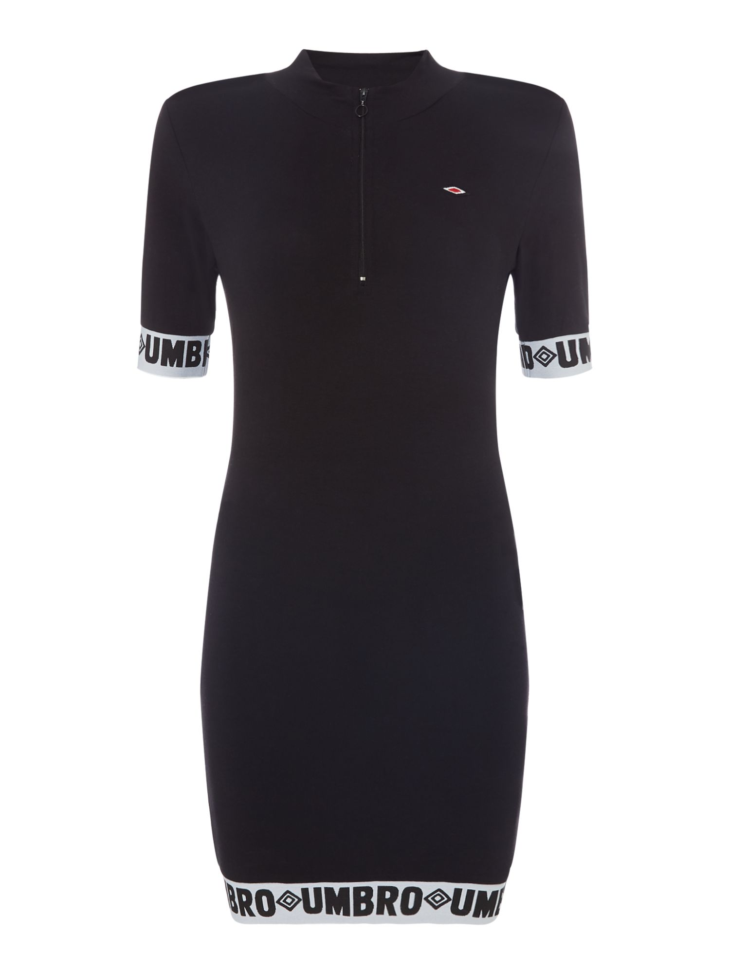 Umbro Zip front funnel neck dress with logo tape trim, Black