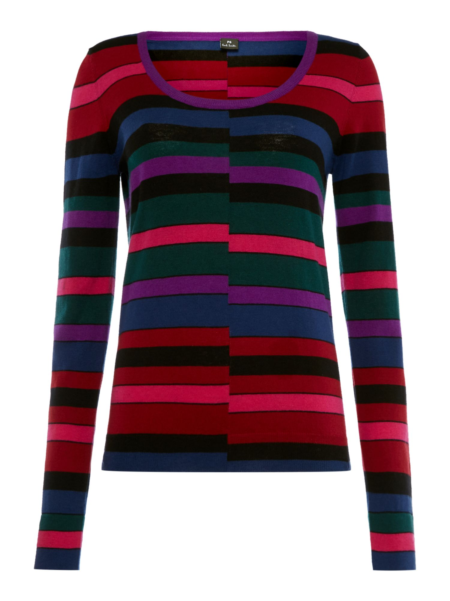 PS By Paul Smith Stripe scoop knit jumper, Multi-Coloured