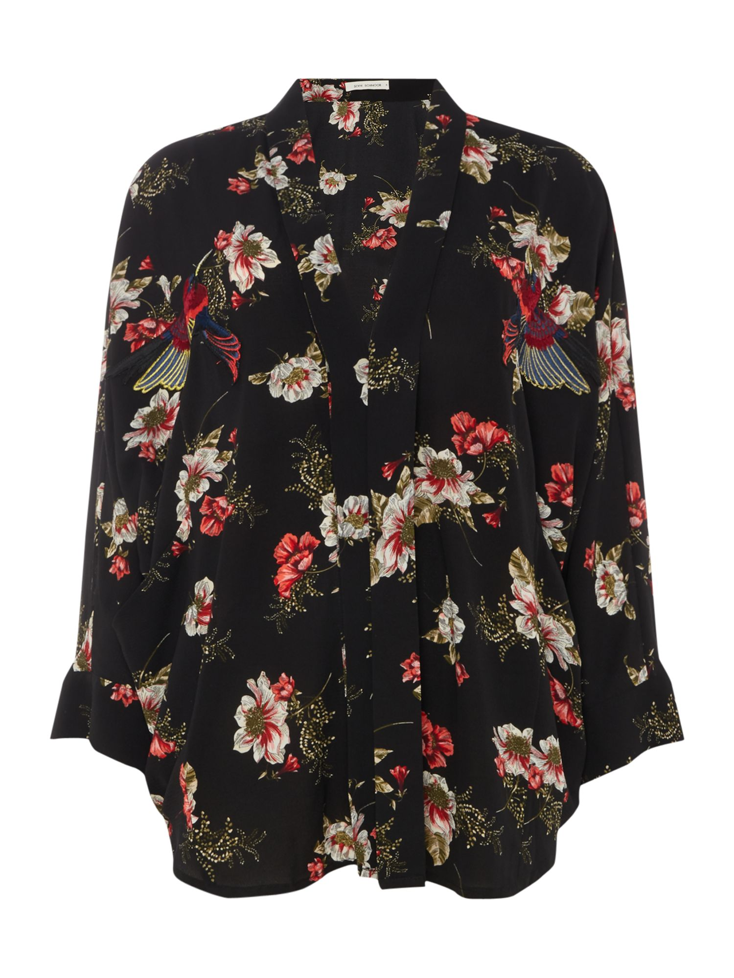Sofie Schnoor Floral print kimono with embroidery detail, Black