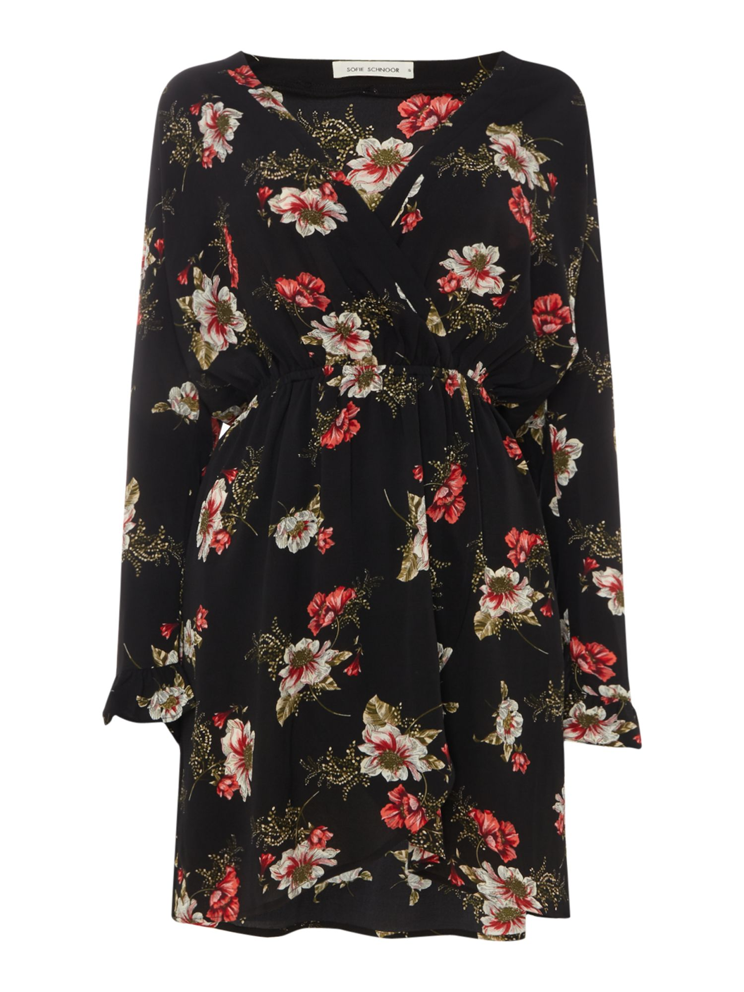 Sofie Schnoor Long sleeve wrap dress with floral print, Black