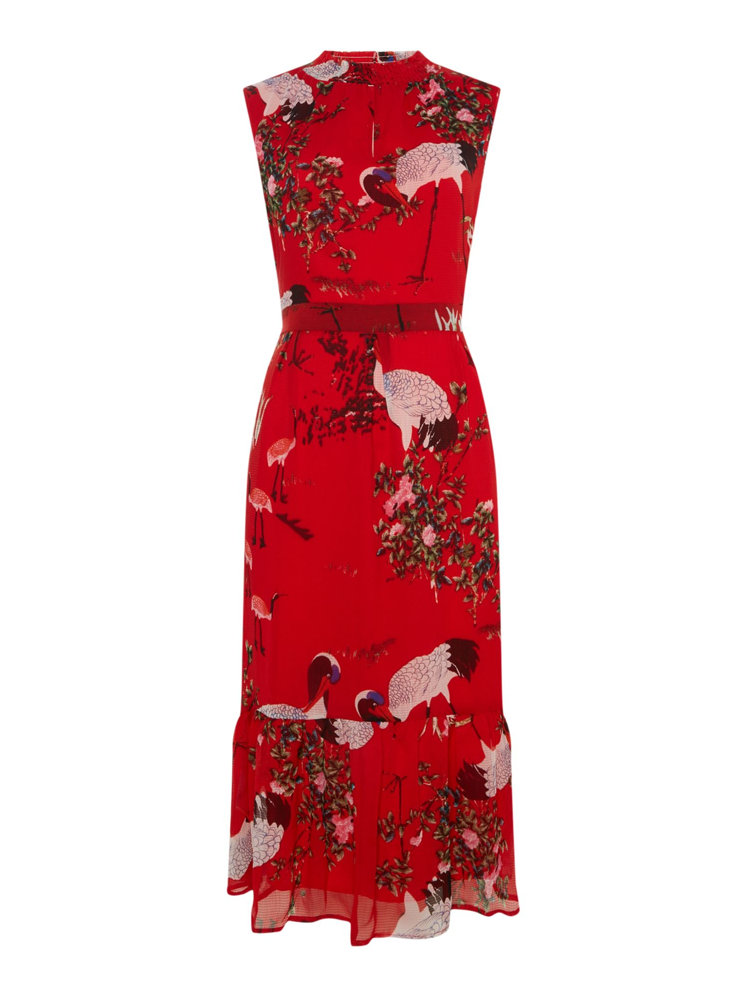 Sofie Schnoor Sleeveless floral print dress with high neckline, Red
