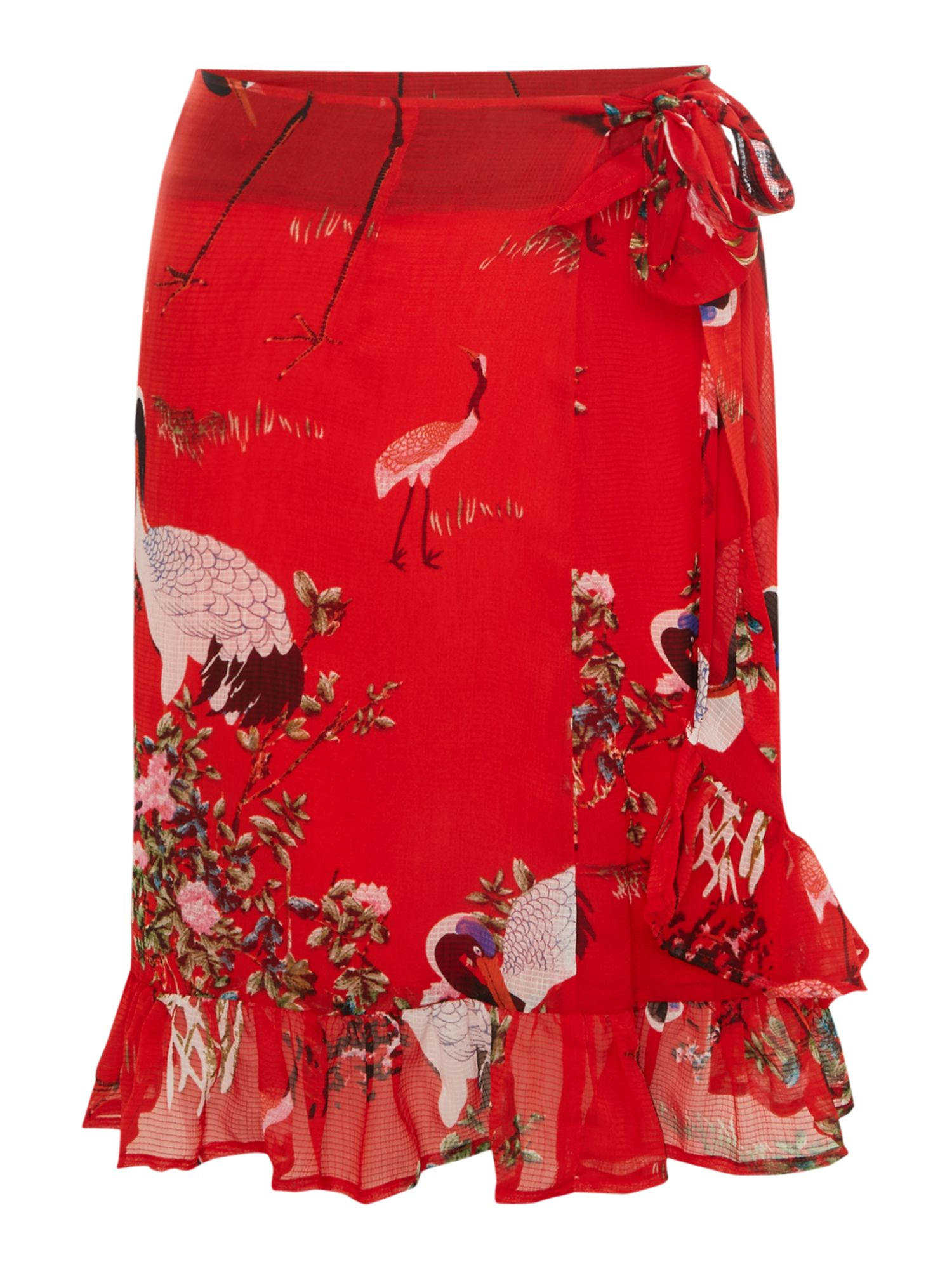 Sofie Schnoor Wrapover floral print skirt, Red