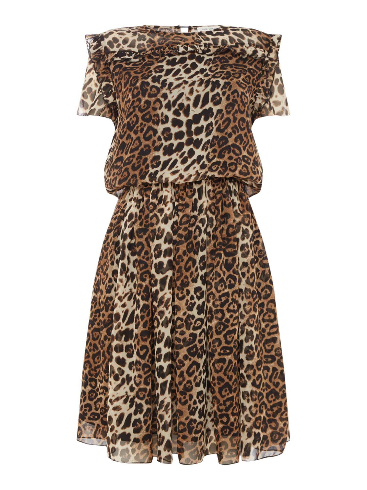 Sofie Schnoor Leopard print dress with ruffle detail, Leopard