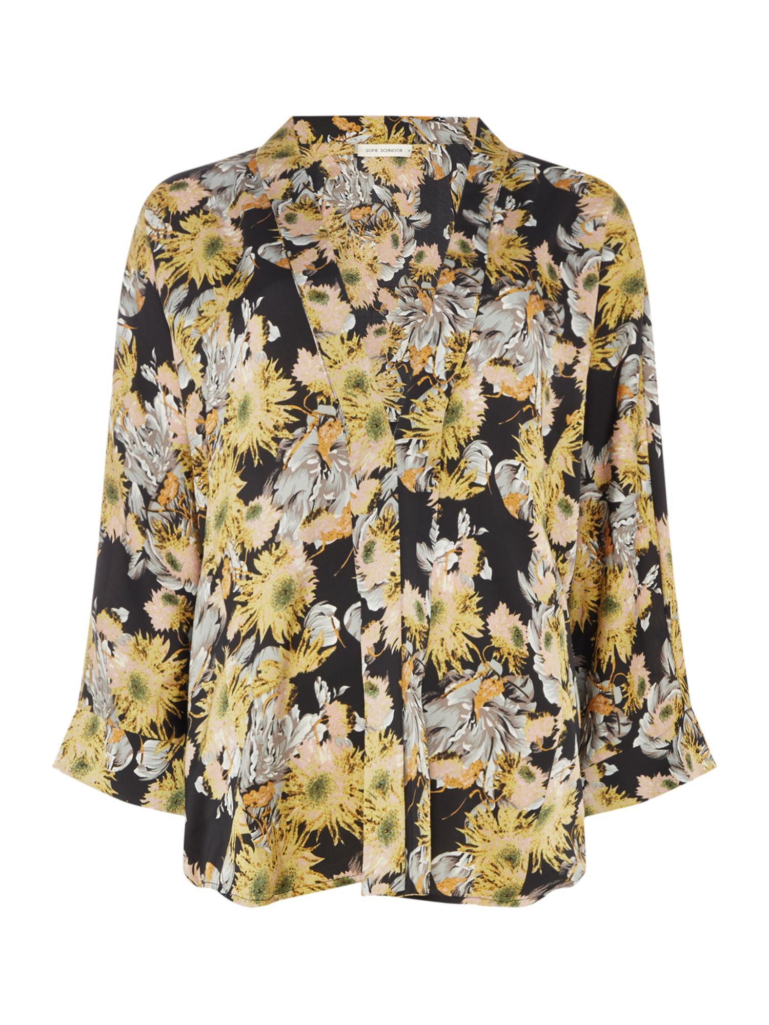 Sofie Schnoor Long sleeve kimono with floral print, Yellow