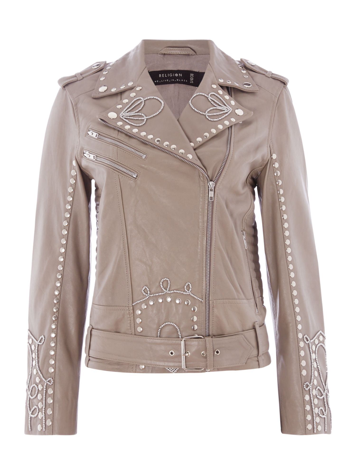 Religion Excellent biker jacket, Taupe