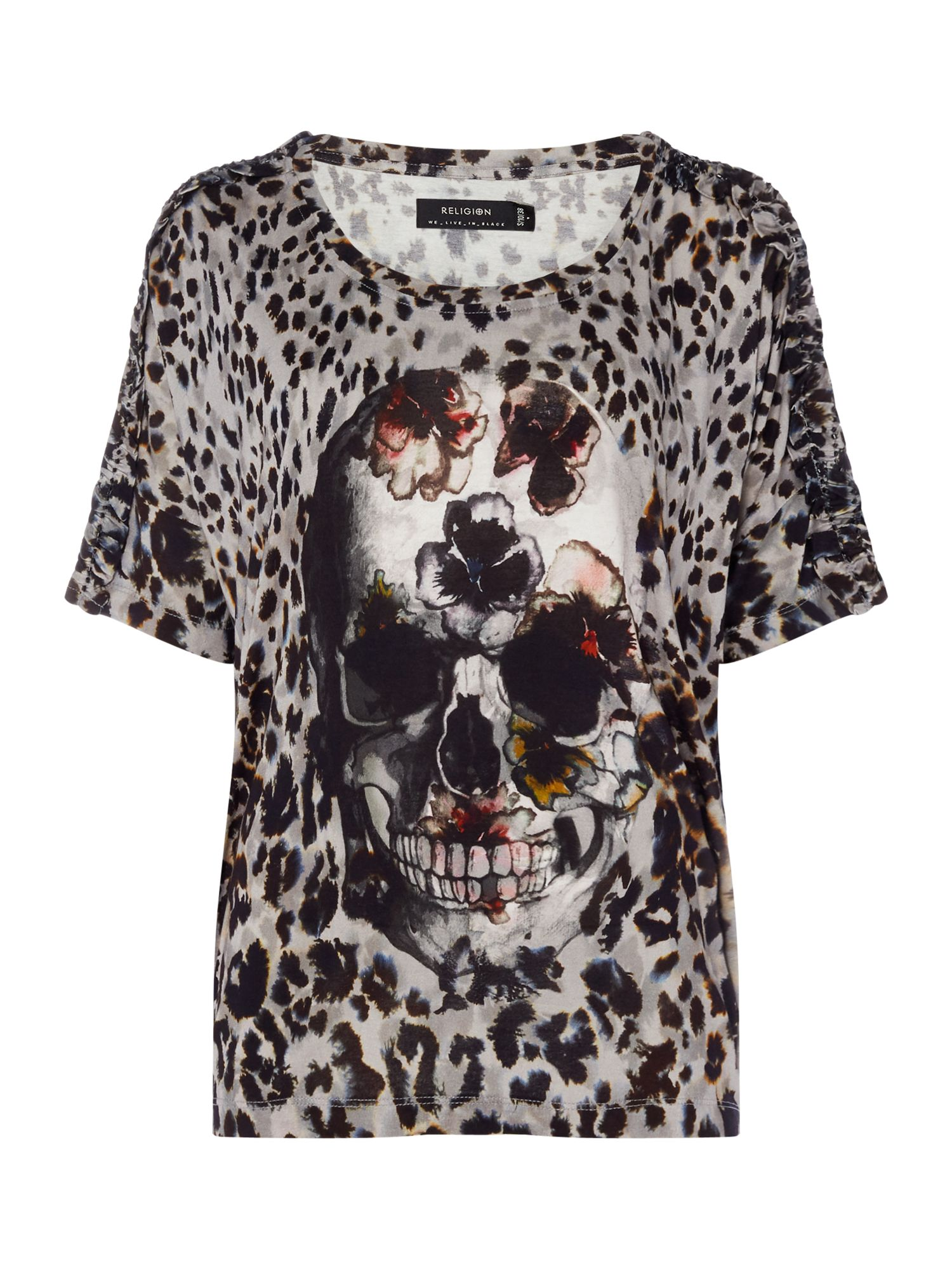 Religion Pop leopard and skull print tee, Multi-Coloured