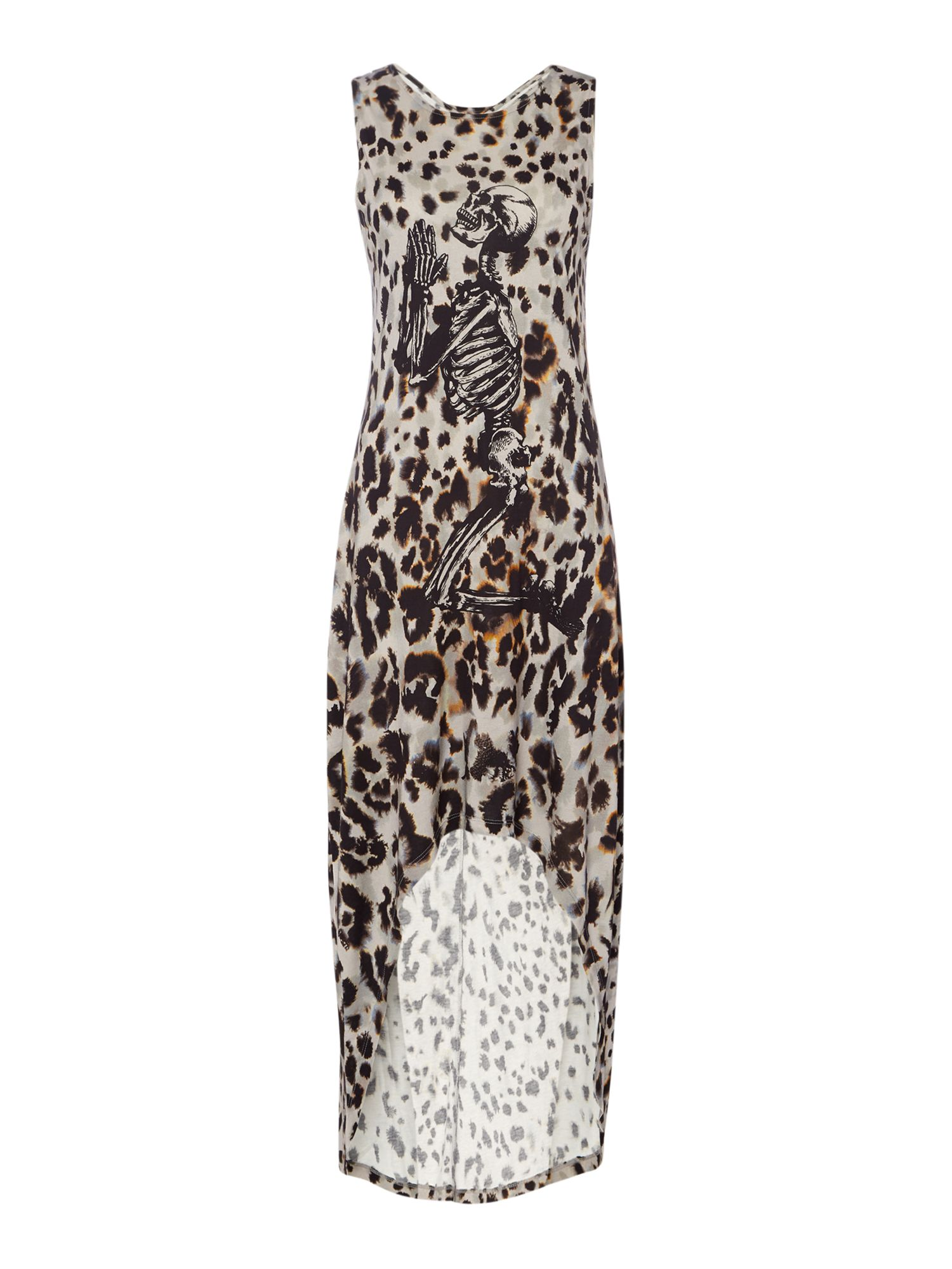 Religion High low dress with pop leopard print, Leopard