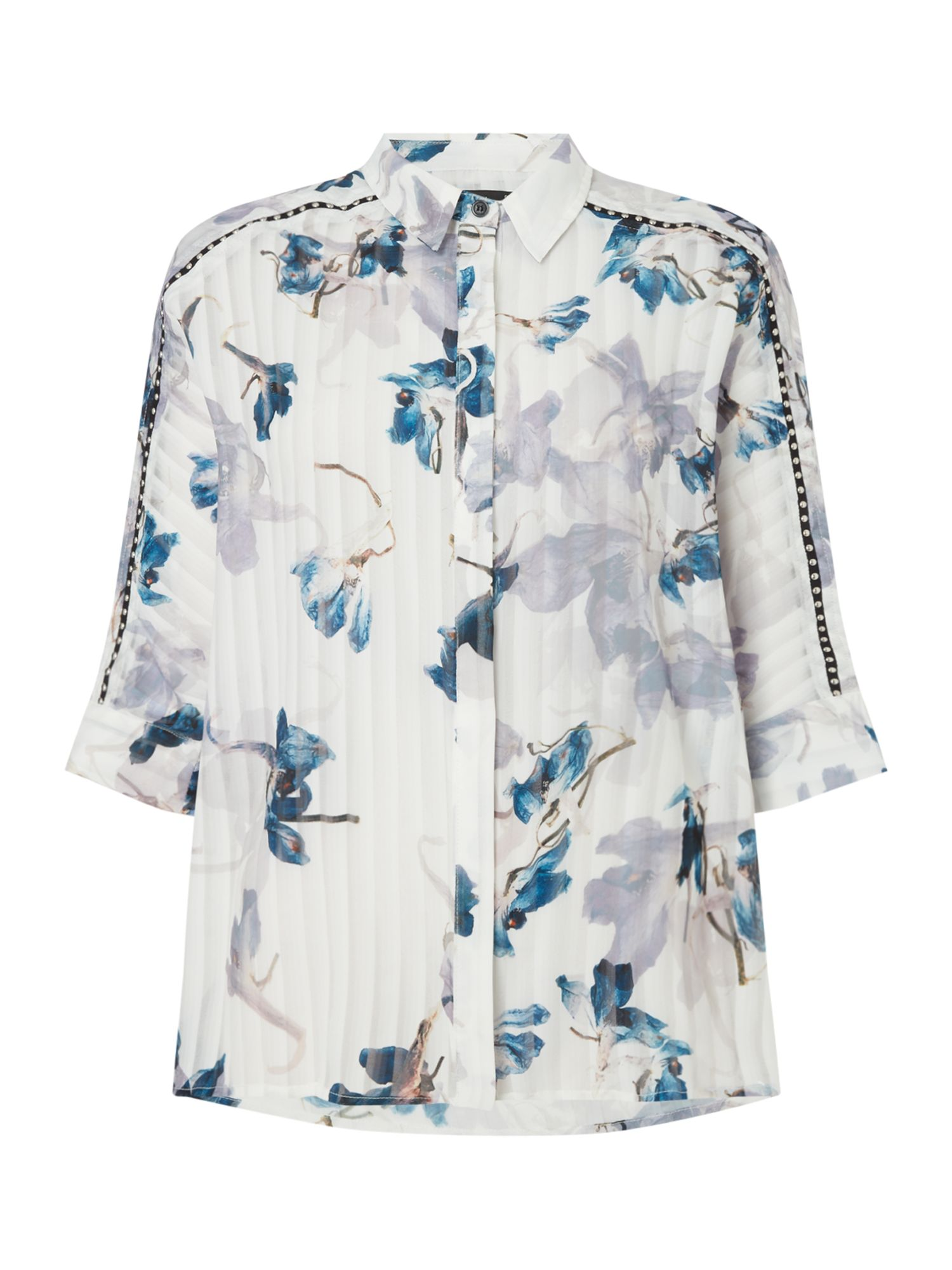 Religion Floral stripe shirt, White