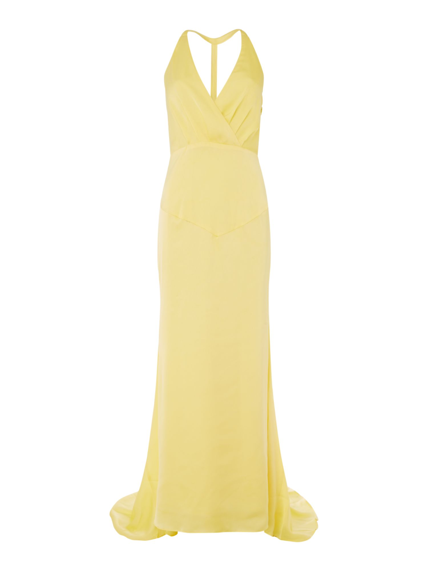 Jarlo V neck satin gown, Yellow