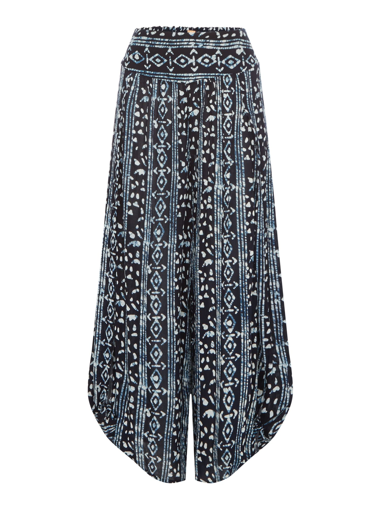 Free People Floaty Printed Wide Palazzo Trousers, Blue