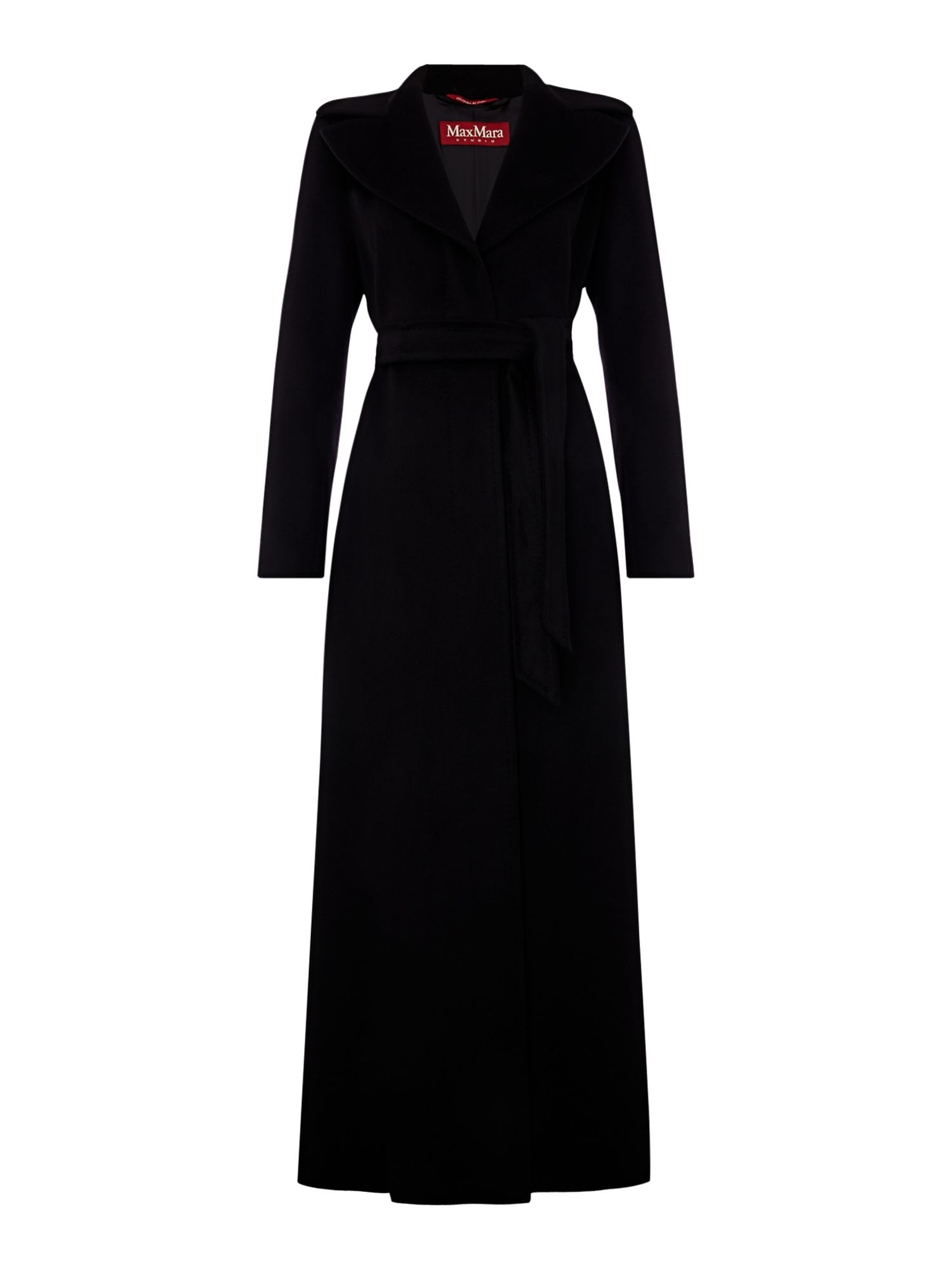 Max Mara Studio Long belted coat, Black
