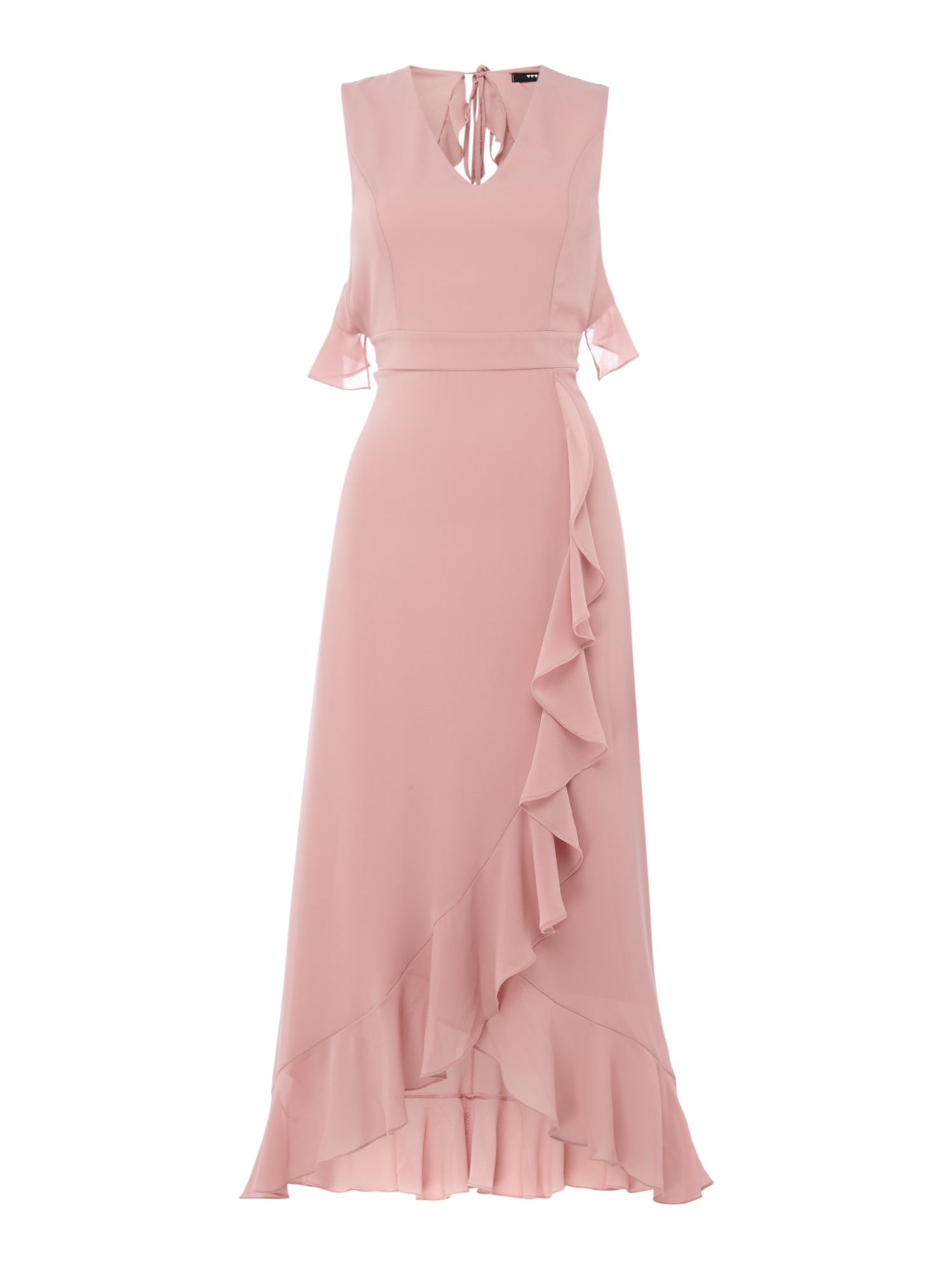 tfnc V neck ruffle detail open back dress, Pink