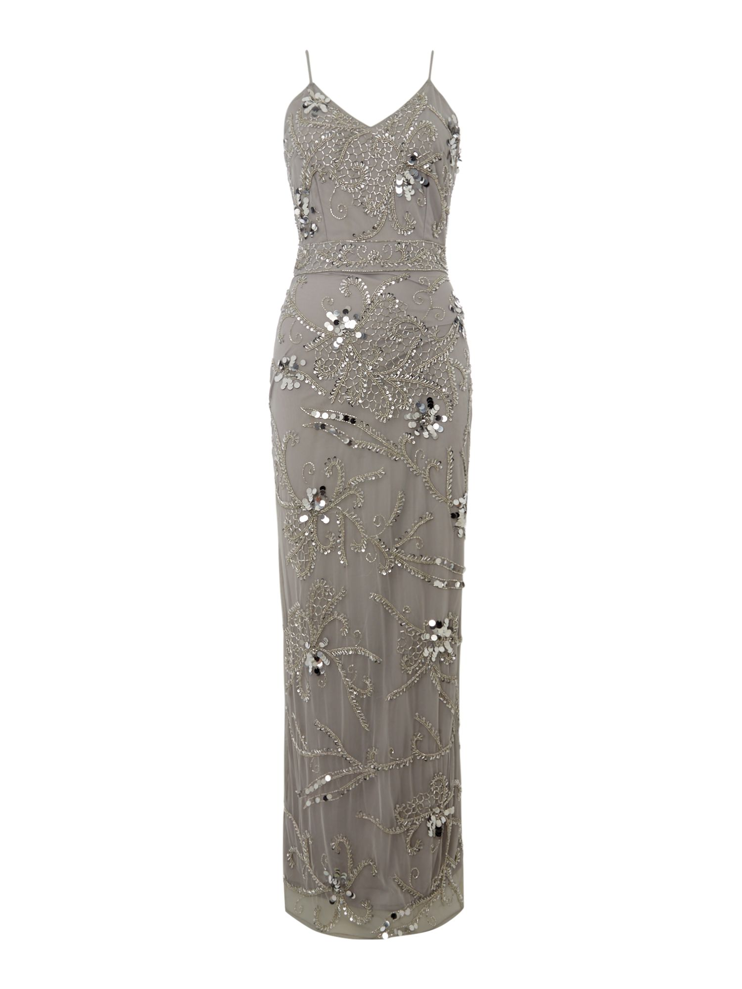 Lace and Beads Strappy Embellished Maxi Bodycon, Grey