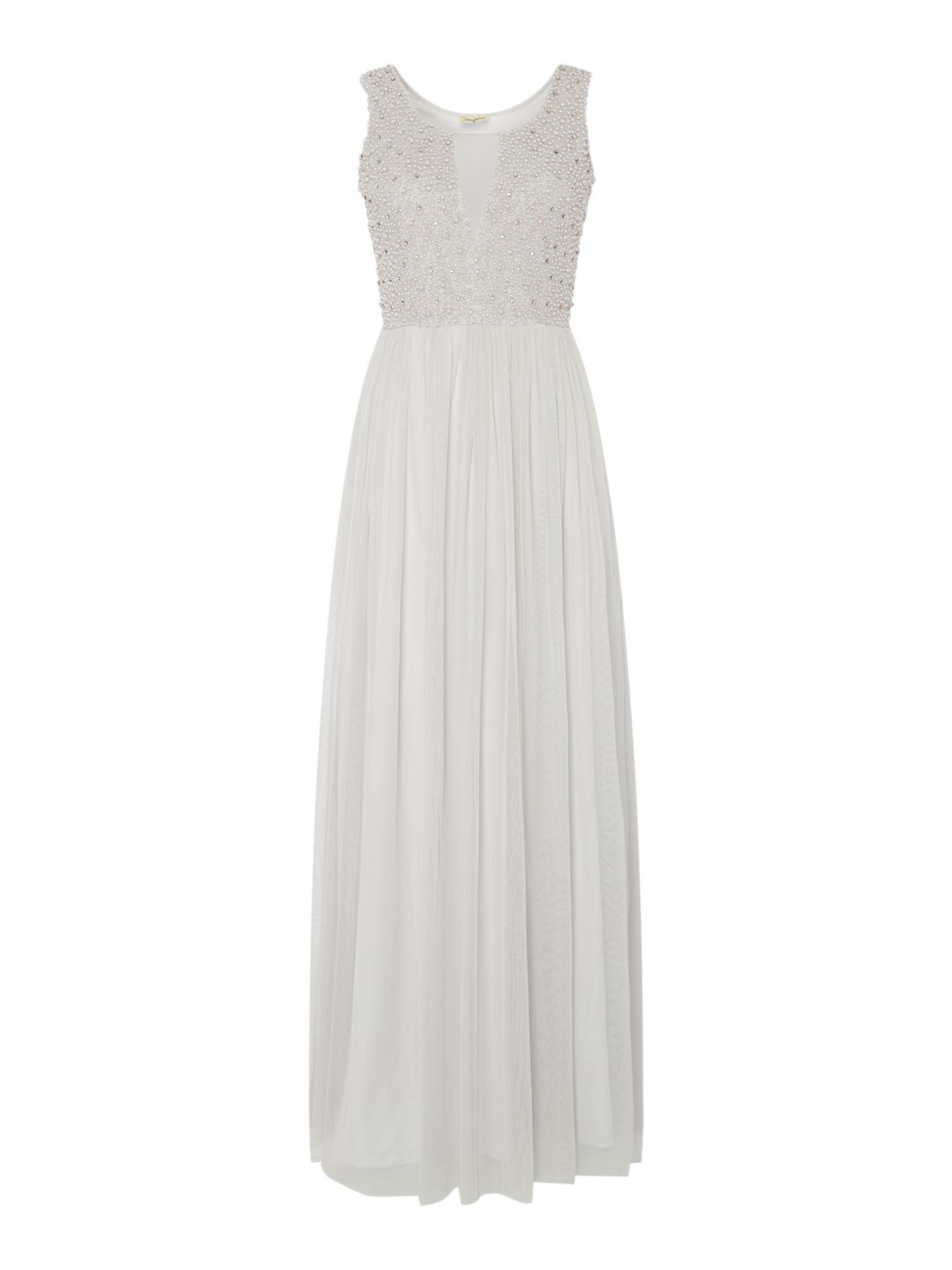 Lace and Beads V neck beaded top maxi dress, Grey
