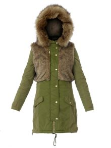 Relish Parkas long puffer jacket with faux fur