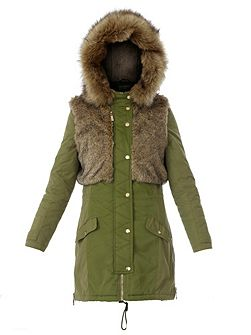 Parkas long puffer jacket with faux fur