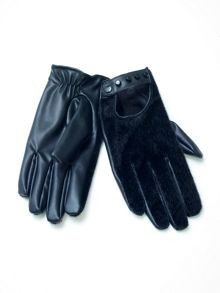 Eco leather studded gloves