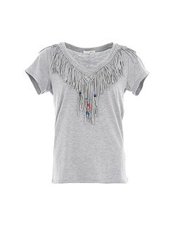 Relish Fringed T-Shirt With Beaded Detail