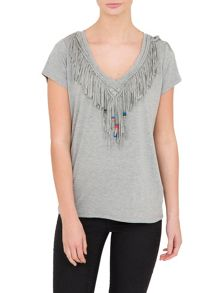 Relish Relish Fringed T-Shirt With Beaded Detail