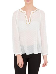 Relish Relish Sheer Printed Top