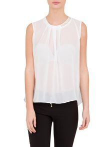 Relish Relish Sheer Top With Studded Detail
