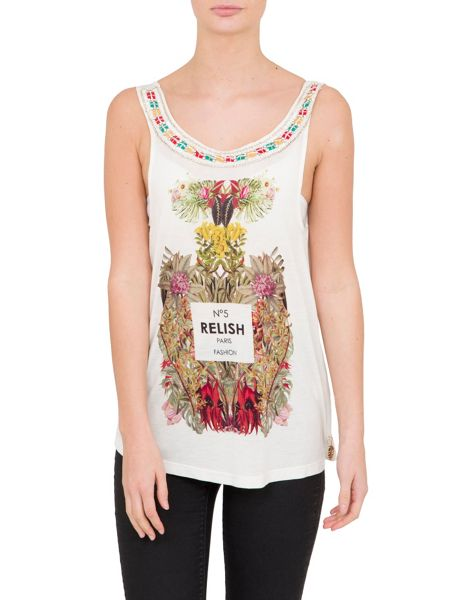 Relish Relish Floral Embellished Tank Top