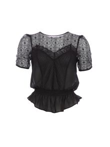Relish Relish Top With Sheer Detailing
