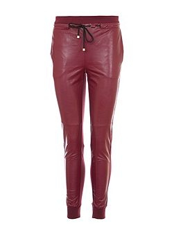 Faux Leather Track Trousers