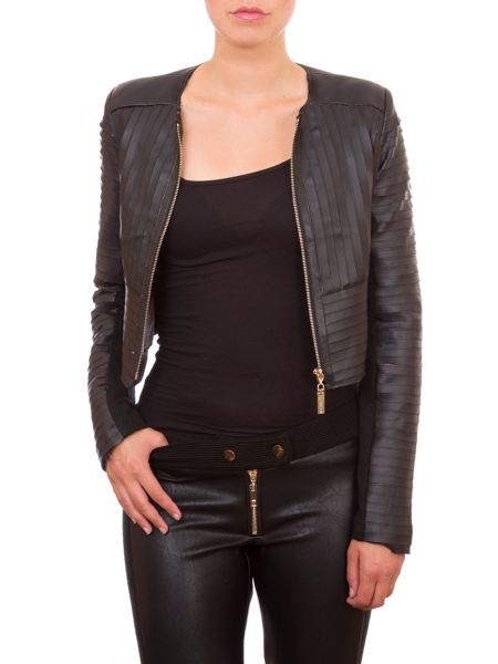 Relish Textured Faux Leather Jacket