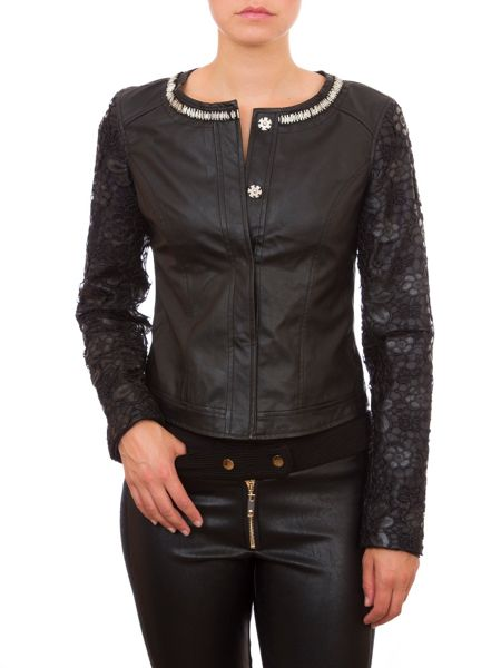 Relish Faux Leather Jacket With Floral Sleeves