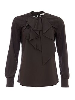 Blouse With Ruffled Neckline