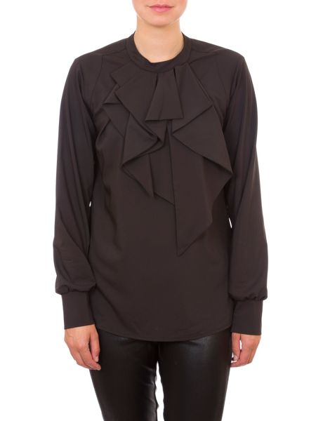 Relish Blouse With Ruffled Neckline