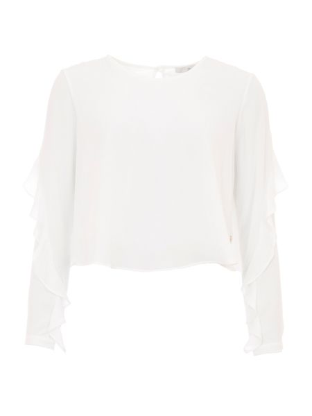 Relish Top With Frilled Sleeves