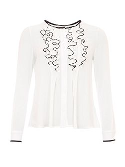 Ruffled Blouse With Contrasting Trims