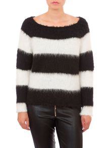 Relish Striped Fluffy Jumper