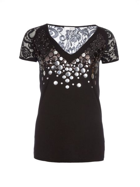Relish Embellished Lace Top