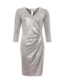 Relish Metallic Ruched Dress