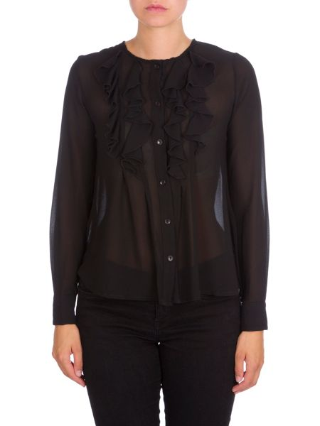 Relish Ruffled Blouse With Contrasting Trims