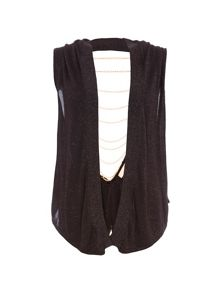 Relish Sleeveless Cardigan With Chained Back.