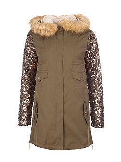 Parka With Sequined Sleeves