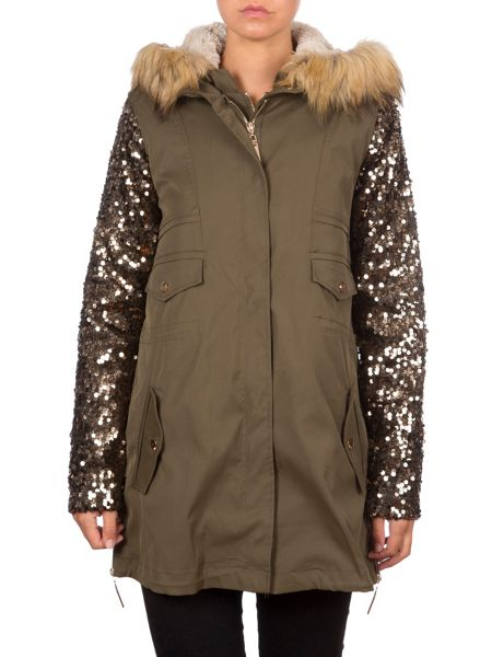 Relish Parka With Sequined Sleeves