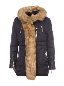 Relish Hooded Parka With Faux Fur Trims